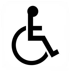 Logo sedia a rotelle nera